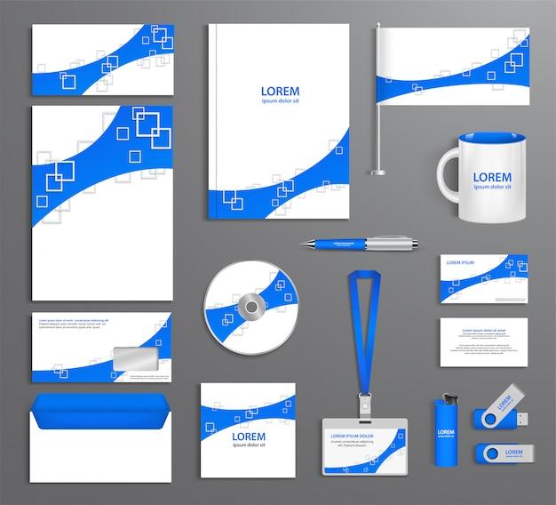 Blaue unternehmensidentifikationsschablone, firmenart, zusammenfassung von gestaltungselementen. geschäftsdokumentation.