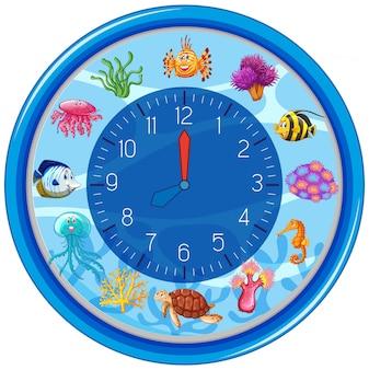 Blaue unterwasseruhr vorlage