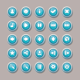 Blaue vektorschaltflächen mit symbolen für die gestaltung der spieloberfläche