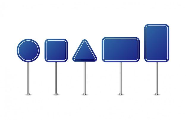 Blaue verkehrszeichen. realistischer verkehrszeichensatz. verkehrszeichenvorlage für text.