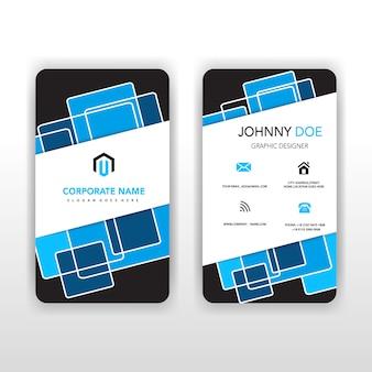 Blaue vertikale hintere und vordere illustratorkarte