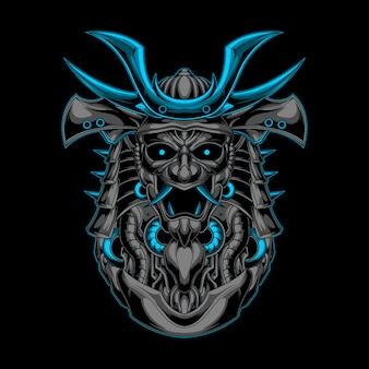 Blaue verzierung des samurai-roboters