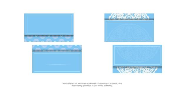 Blaue visitenkarte mit abstrakter weißer verzierung für ihr geschäft.