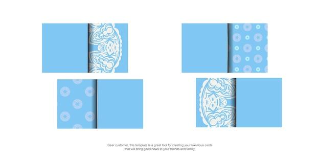 Blaue visitenkarte mit abstrakter weißer verzierung für ihre persönlichkeit.