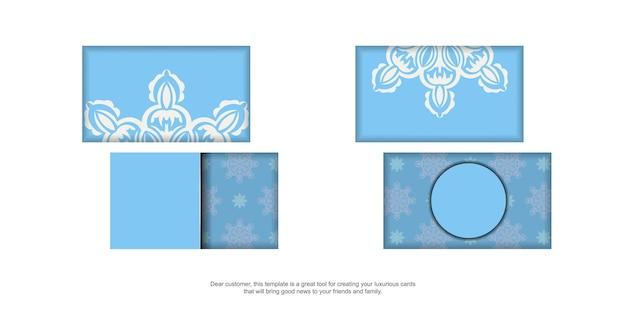 Blaue visitenkarte mit indisch-weißem muster für ihre marke.