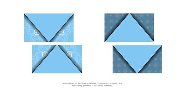Blaue visitenkarte mit indischem weißem muster für ihr geschäft.
