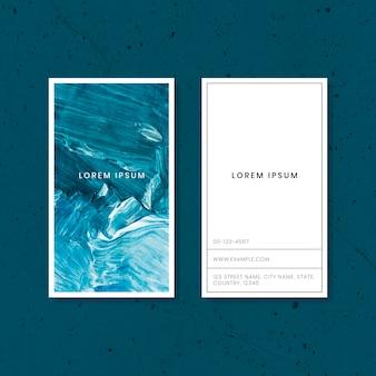 Blaue visitenkarte mit pinselstrich