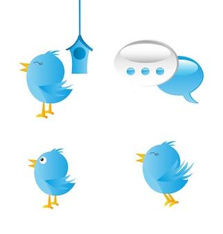 Blaue vögel mit kommunikationsikonen vector illustration