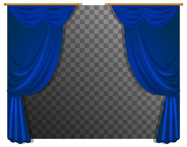 Blaue vorhänge mit transparentem hintergrund