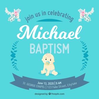 Blaue vorlage für die taufe