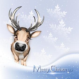 Blaue weihnachtskarte mit süßem rentier über schnee