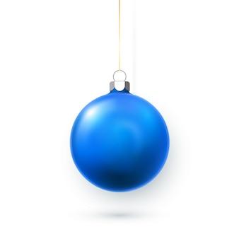 Blaue weihnachtskugel. feiertagsdekorationsschablone.