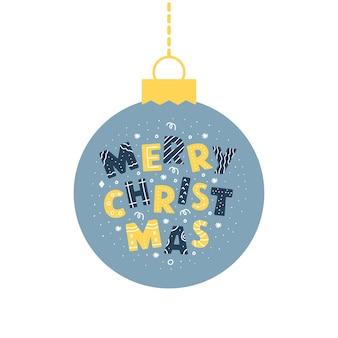 Blaue weihnachtskugel mit text frohe weihnachten isoliert auf weißem hintergrund