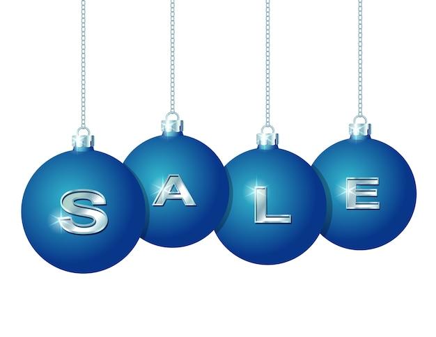 Blaue weihnachtskugeln hängen an silbernen ketten mit dem silbernen wort sale, der auf ihnen geschrieben wird