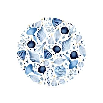 Blaue weihnachtsschmuck aquarell runde illustration