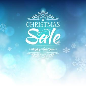 Blaue weihnachtsverkaufsvorlage mit wünschen und informationen über rabatte auf blau