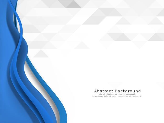 Blaue welle, die auf mosaikhintergrund fließt