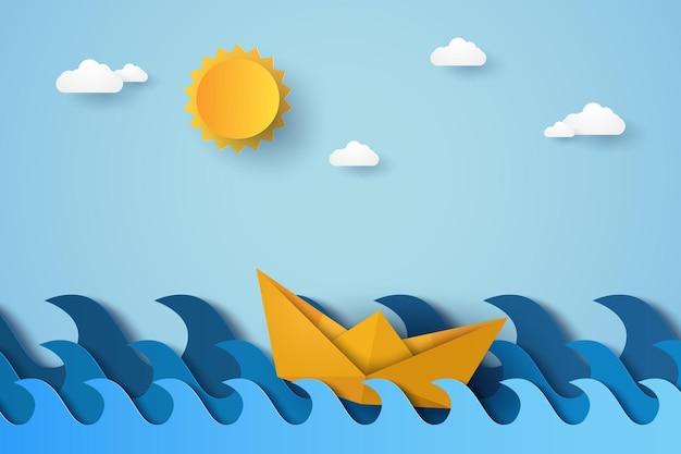 Blaue welle im ozean mit bootssegeln, papierkunststil