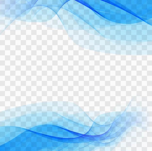 Blaue wellenförmige formen auf einem transparenten hintergrund