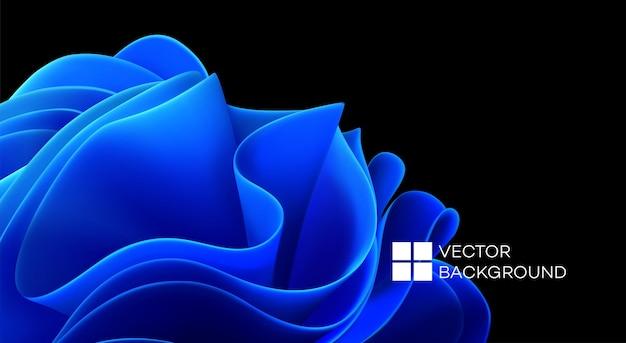 Blaue wellenformen auf schwarzem hintergrund. 3d trendiger moderner hintergrund. blaue wellen abstrakte form. vektor-illustration