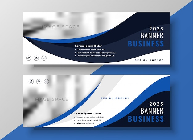 Blaue wellige business-banner-vorlage
