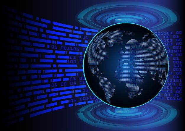 Blaue weltkarte cyber leiterplatte zukunftstechnologie