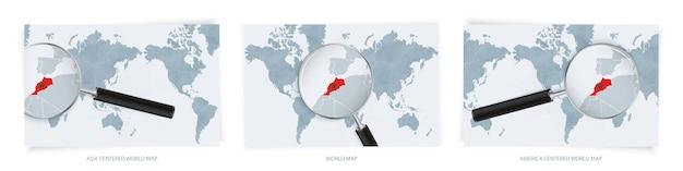 Blaue weltkarten mit lupe auf der karte von marokko mit der nationalflagge von marokko. drei versionen der weltkarte.
