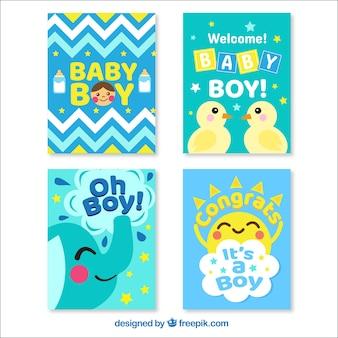 Blaue willkommens-babykartenentwürfe