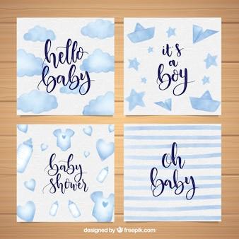 Blaue willkommens-babykartenschablonen