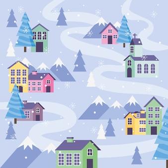 Blaue wintergebirgslandschaft mit häusern