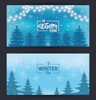 Blaue winterkarte mit schneeflocken und waldszene