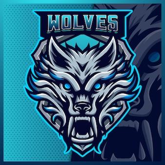 Blaue wolf maskottchen esport logo design illustrationen vorlage