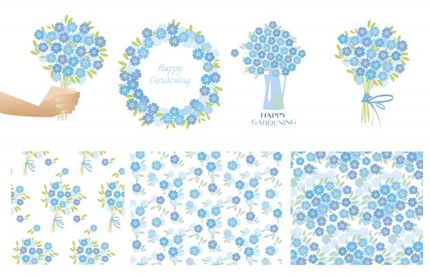 Blaue zarte vergissmeinnicht-blumen im retro-stil