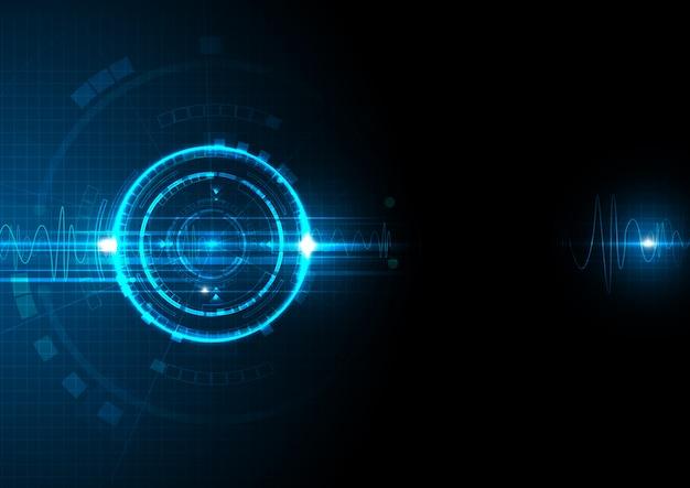 Blaue zukünftige daten digital mit schallwelle