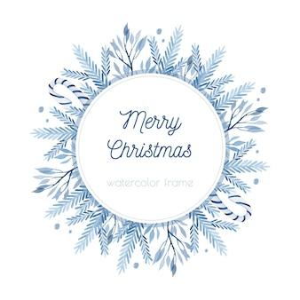 Blaue zweige weihnachtsaquarellrahmen