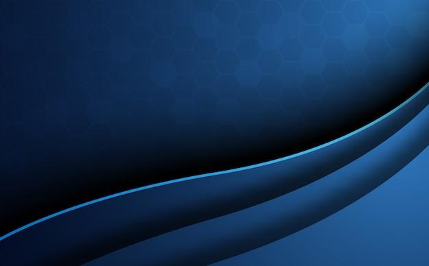 Blauer abstrakter bienenwabenhintergrund mit kurvenvordergrund. wallpaper und textur-konzept. minimales thema.