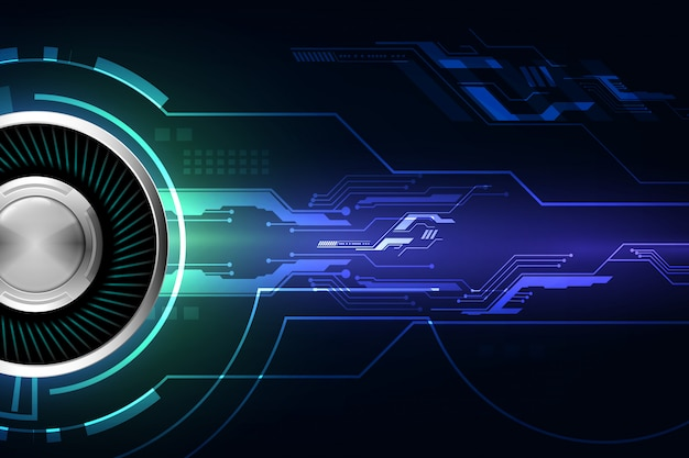 Blauer abstrakter cyberzukunftstechnologie-konzepthintergrund