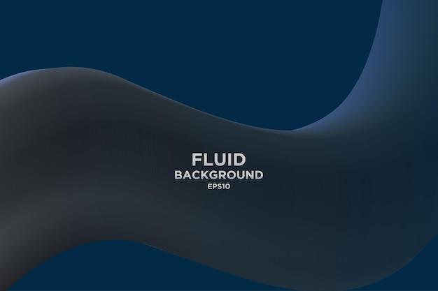 Blauer abstrakter flüssigkeitswellenhintergrund mit 3d-strömungsverlauf für cover oder landing page
