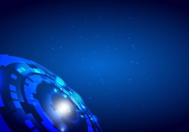 Blauer abstrakter futuristischer elektronischer kreistechnologiehintergrund