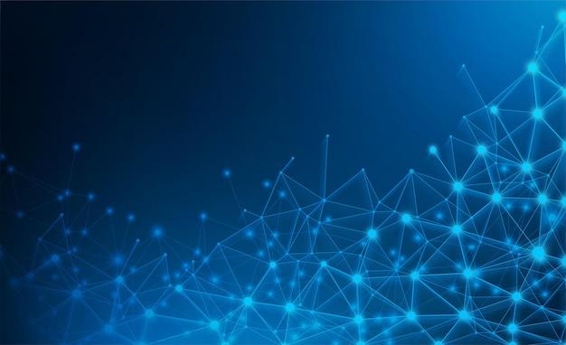 Blauer abstrakter glänzender netzwerkhintergrund