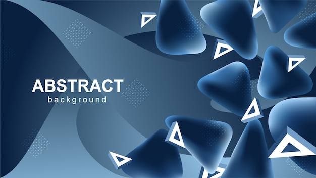 Blauer abstrakter hintergrund mit dreieckigen elementen