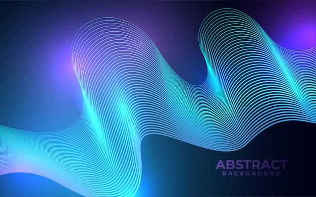 Blauer abstrakter hintergrund mit leuchtenden wellenlinien