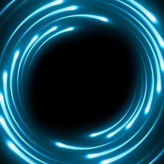 Blauer abstrakter hintergrund mit verwischten magischen neonlicht-gekrümmten linien.