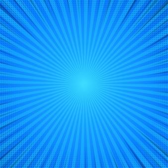 Blauer abstrakter komischer karikatur-sonnenlicht-hintergrund.