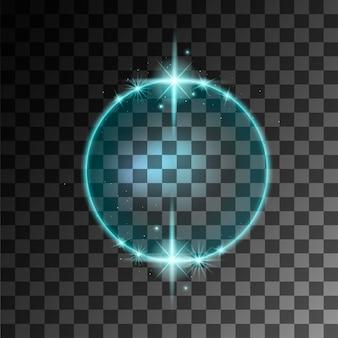 Blauer abstrakter leuchtender ringeffekt mit flacher vektorillustration der funken auf transparentem hintergrund.