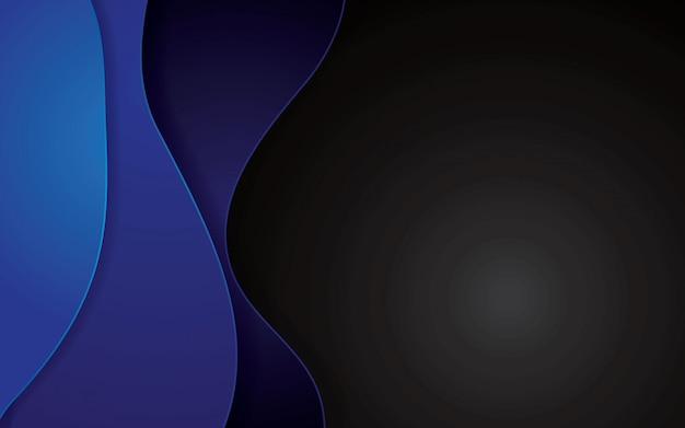 Blauer abstrakter papercut geometrischer hintergrund. dekorationspapierschnitt mit gewellten schichten.