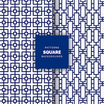 Blauer abstrakter quadratischer nahtloser vektor geometrischer musterhintergrund