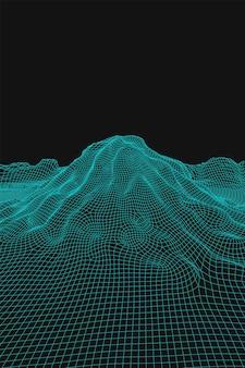Blauer abstrakter vektor-wireframe-landschaftshintergrund. futuristische 3d-mesh-berge. 80er jahre retro-abbildung. täler der cyberspace-technologie.