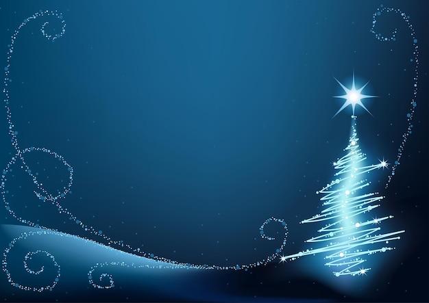 Blauer abstrakter weihnachtsbaum-hintergrund mit lichteffekten