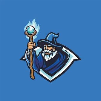 Blauer alchemie-zauberer mit zauberstab